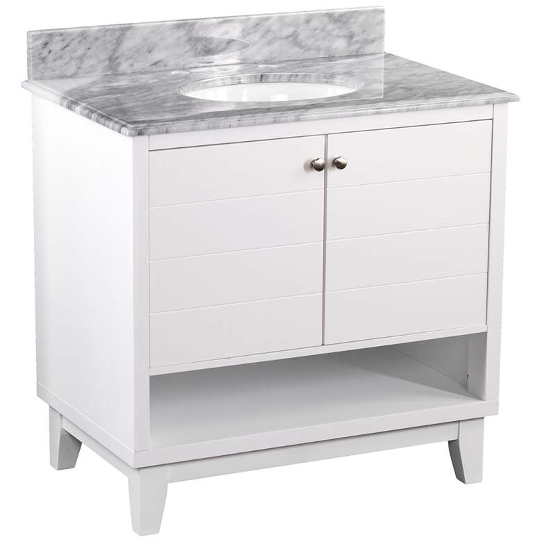 "Ridglea 34"" Wide White and Gray Wood Single Sink Vanity more views"