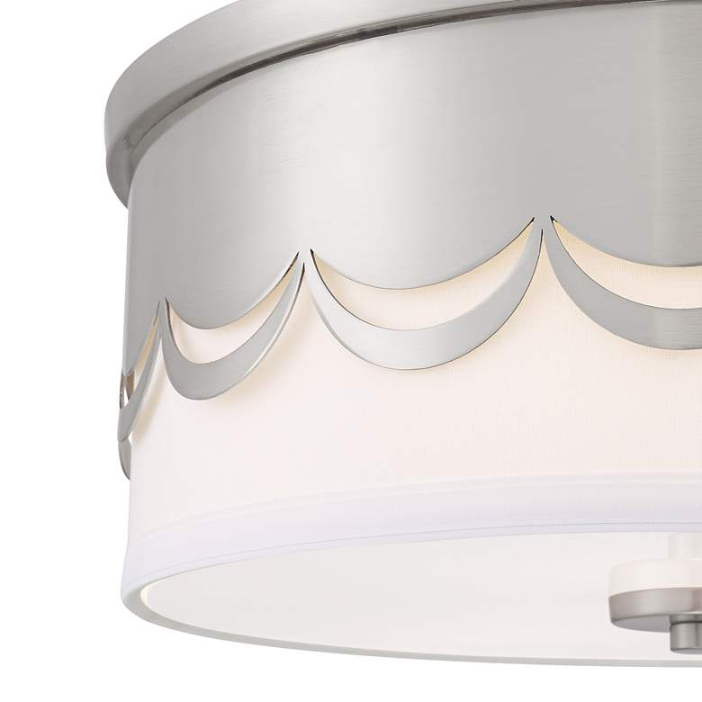 "Broadus 14 1/4"" Wide Drape Cut Brushed Nickel Ceiling Light more views"