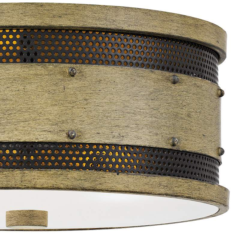 "Quoizel Roadhouse 13"" Wide Natural Walnut Drum Ceiling Light more views"