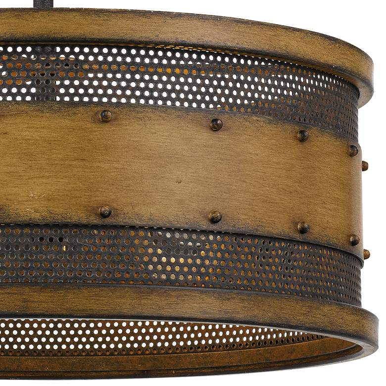 "Quoizel Roadhouse 16"" Wide Aged Walnut Drum Ceiling Light more views"
