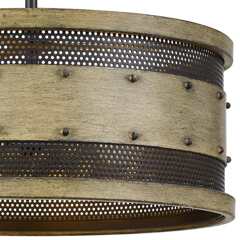 "Quoizel Roadhouse 16"" Wide Natural Walnut Drum Ceiling Light more views"