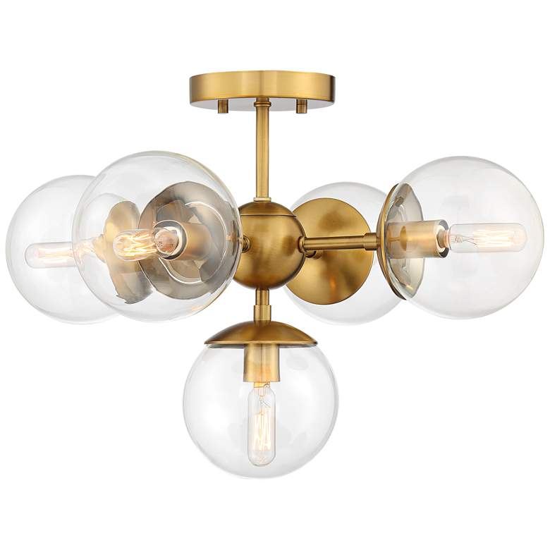 "Possini Euro Medhi 19 3/4""W 5-Light Warm Brass Ceiling Light more views"