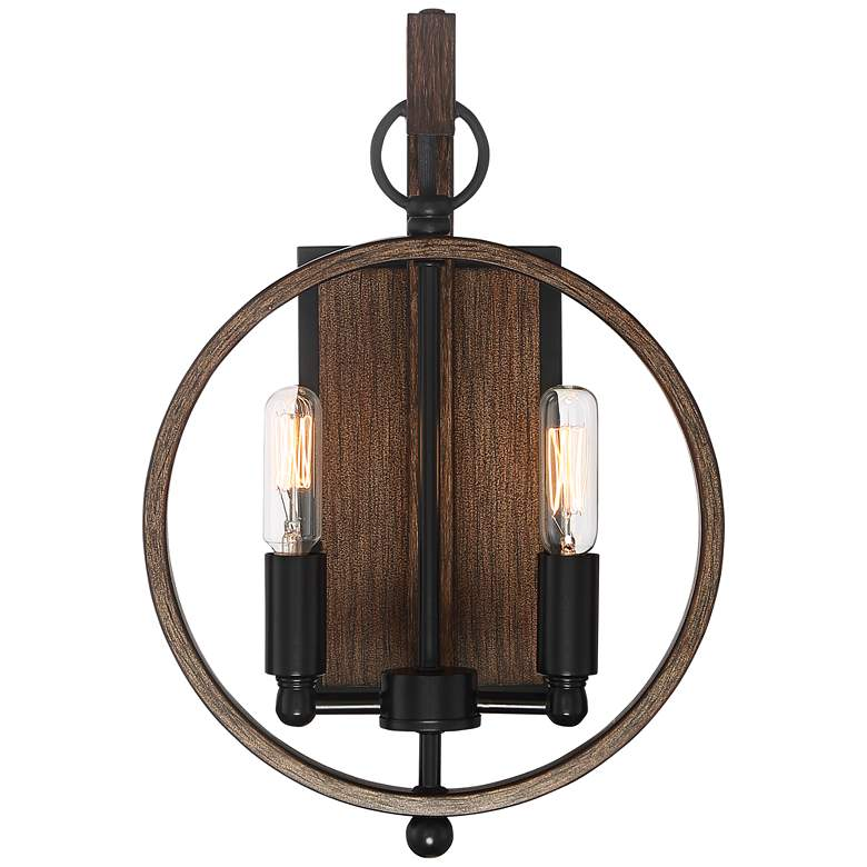 "Possini Euro Giorgia 13""H Black and Wood Wall Sconce more views"