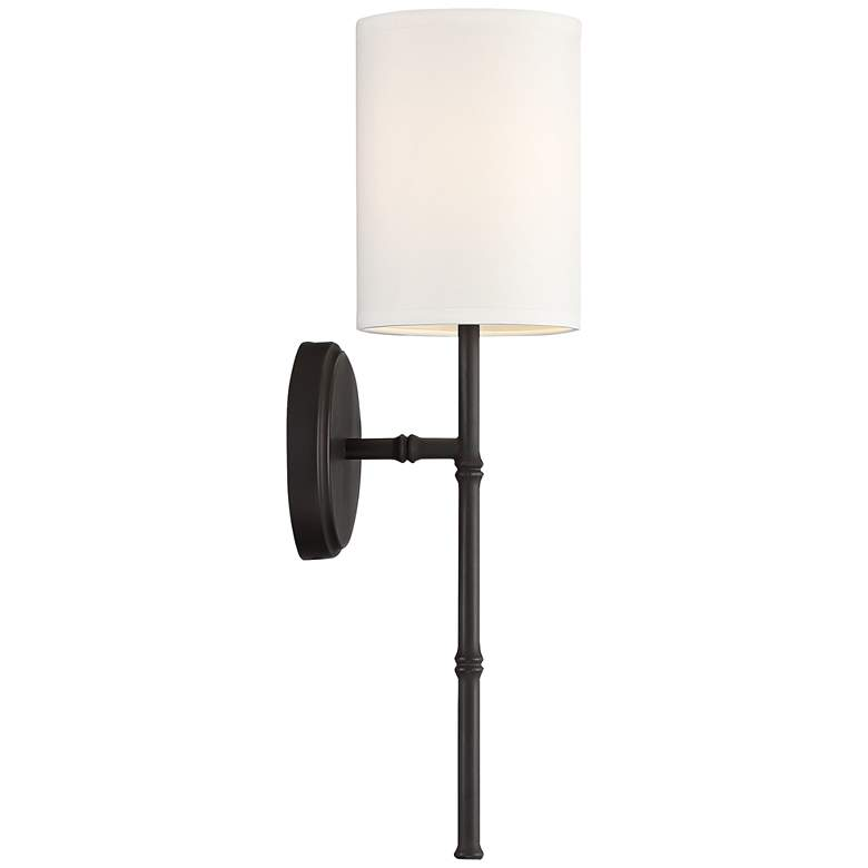 "Abigale 19 1/4""H Bronze and White Fabric Shade Wall Sconce more views"