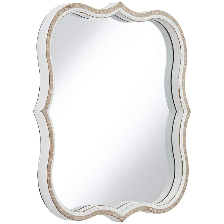 "Shayne Wood 24 1/2"" Square Diamond Scalloped Wall Mirror more views"