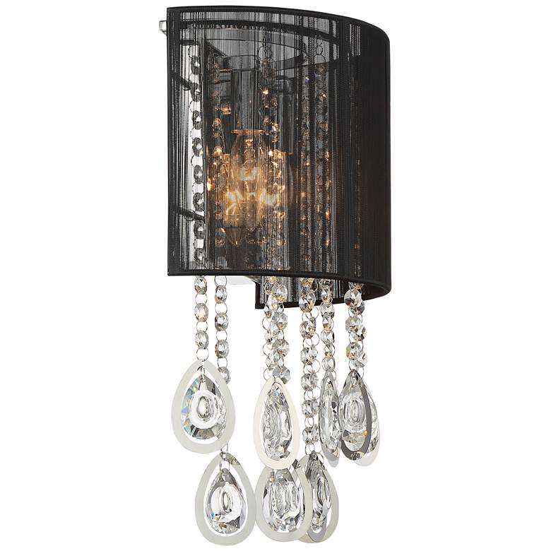 "Possini Euro Leja 15 3/4""H Crystal Droplet Black Wall Sconce more views"
