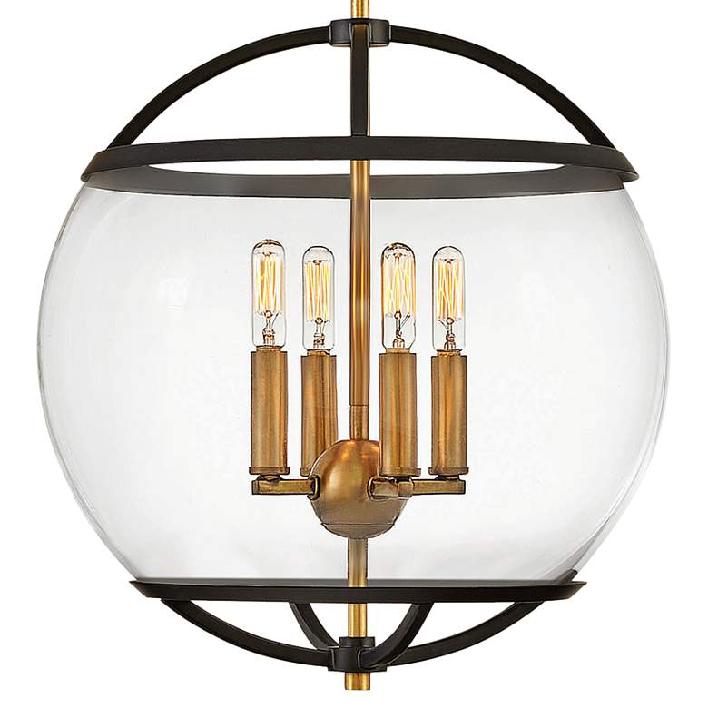 "Hinkley Calvin 15"" Wide Black and Brass 4-Light Orb Pendant more views"
