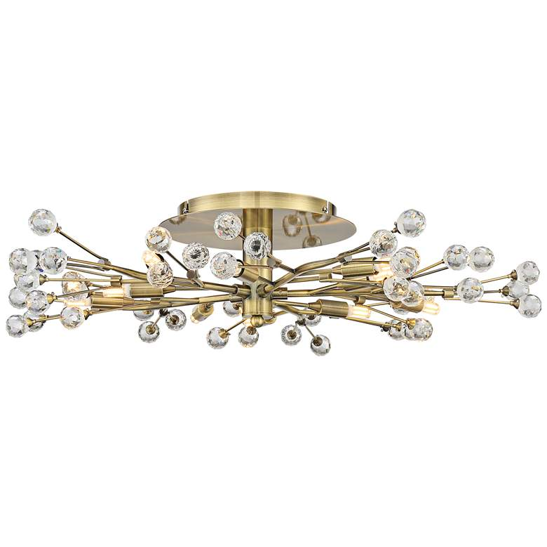 Possini Euro Crystal Berry Brass 10-Light LED Ceiling Light more views