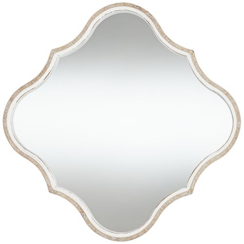 "Shayne Wood 24 1/2"" Square Diamond Scalloped Wall Mirror"