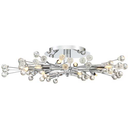 Possini Euro Crystal Berry Chrome 10-Light LED Ceiling Light