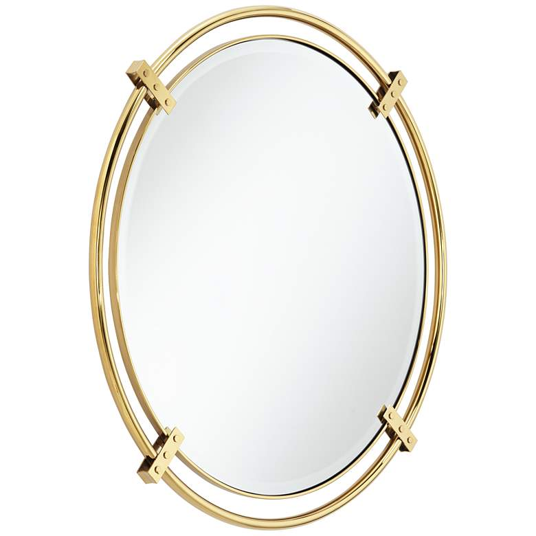 "Possini Euro Kenton 32"" Round Gold Bracket Wall Mirror more views"