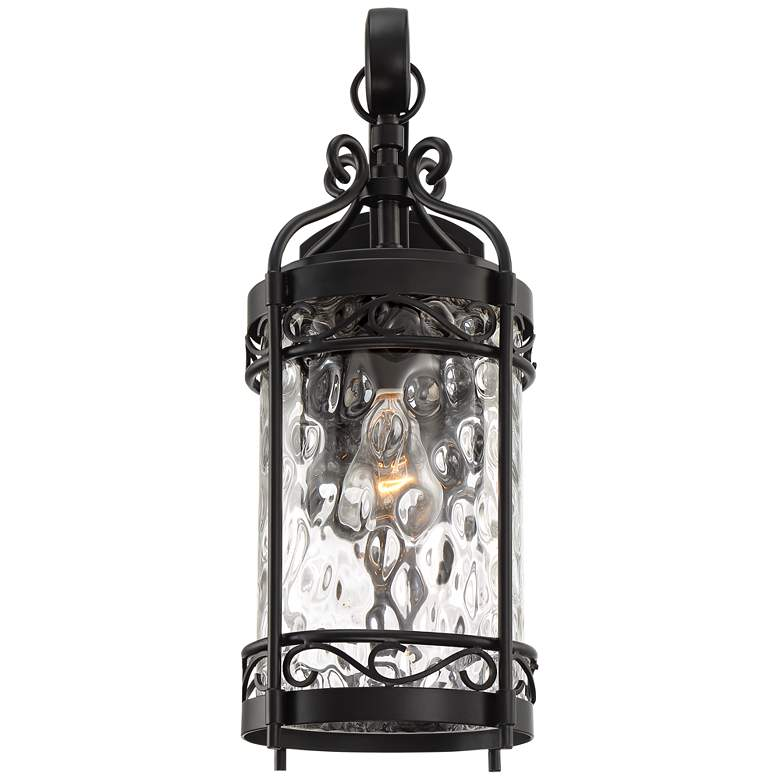 "Paseo 19""H Hammered Glass Matte Black Outdoor Wall Light more views"