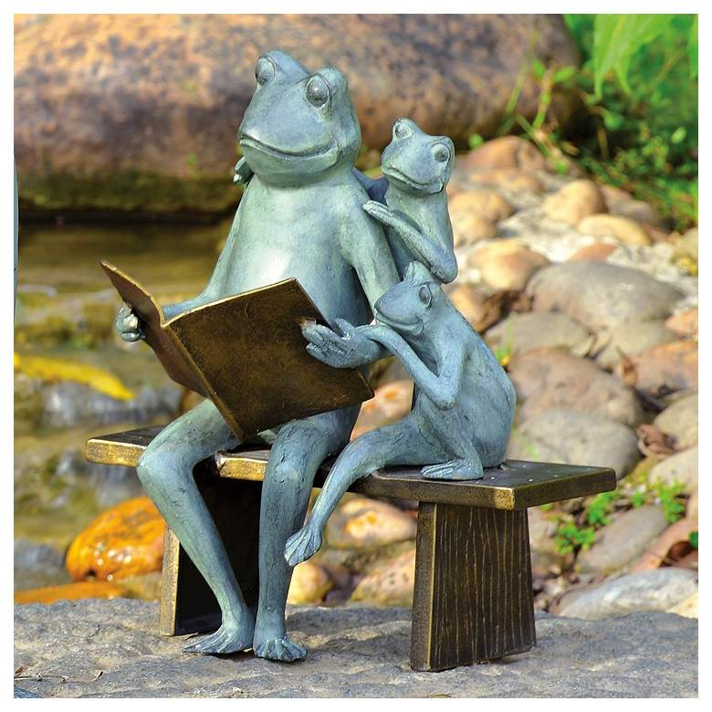 "Reading Frog Family 15 1/2""H Aluminum Outdoor Garden Statue more views"