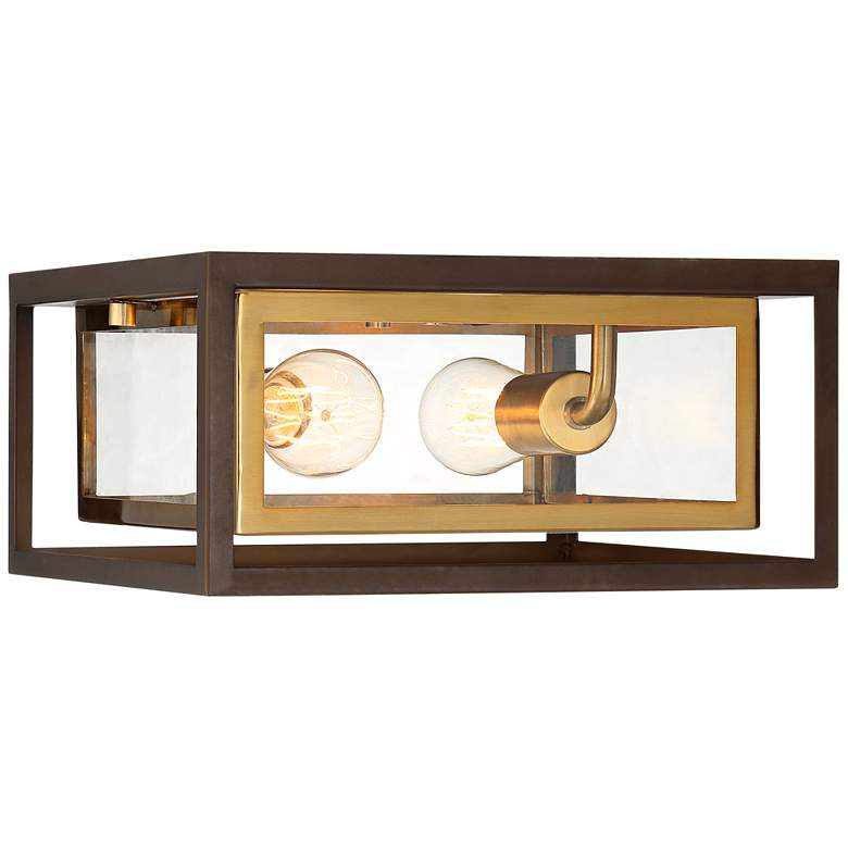 "Possini Euro Kie 12"" Wide Double Box Outdoor Ceiling Light more views"