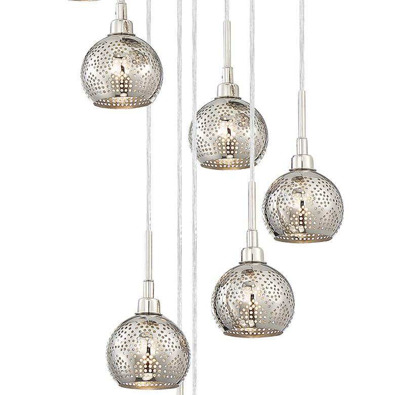 "Jango 13"" Wide Polished Nickel LED Multi Light Pendant more views"