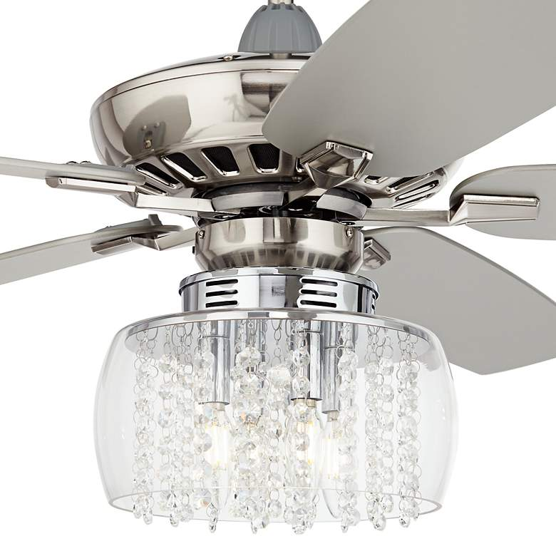 "52"" Journey Brushed Nickel Crystal Rainfall LED Ceiling Fan more views"