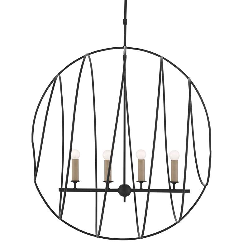 "Auden Orb 33 1/4"" Wide Antique Black 4-Light Chandelier more views"