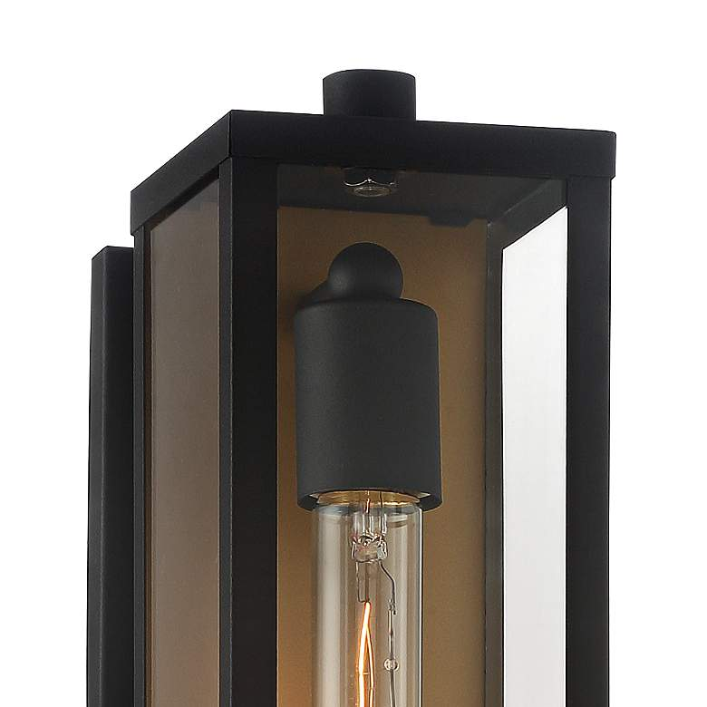 "Possini Euro Berk 16""H Black and Gold Box Outdoor Wall Light more views"
