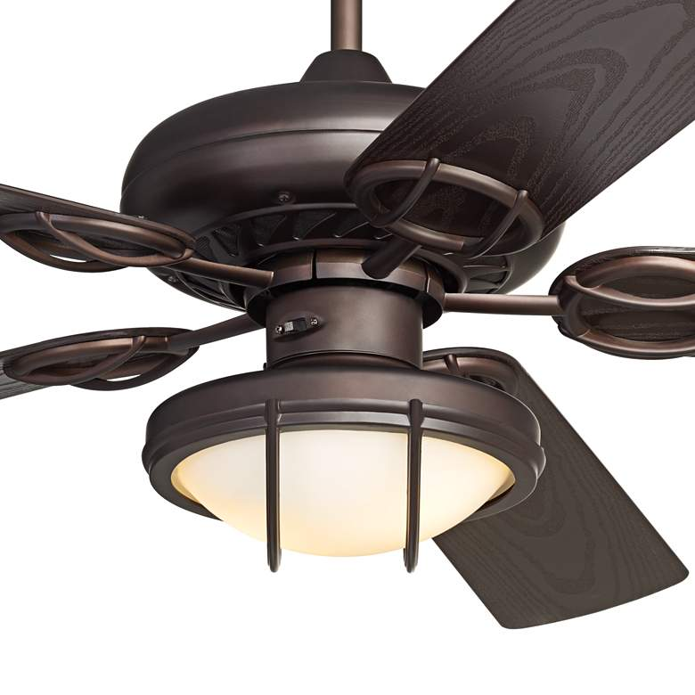 "52"" Casa Vieja Orb Bronze and White Glass LED Ceiling Fan more views"