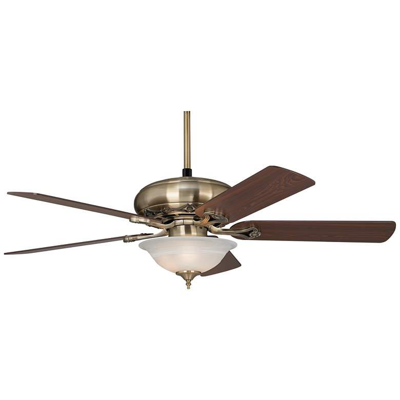 "52"" Casa Trilogy Brass and Alabaster Glass LED Ceiling Fan more views"