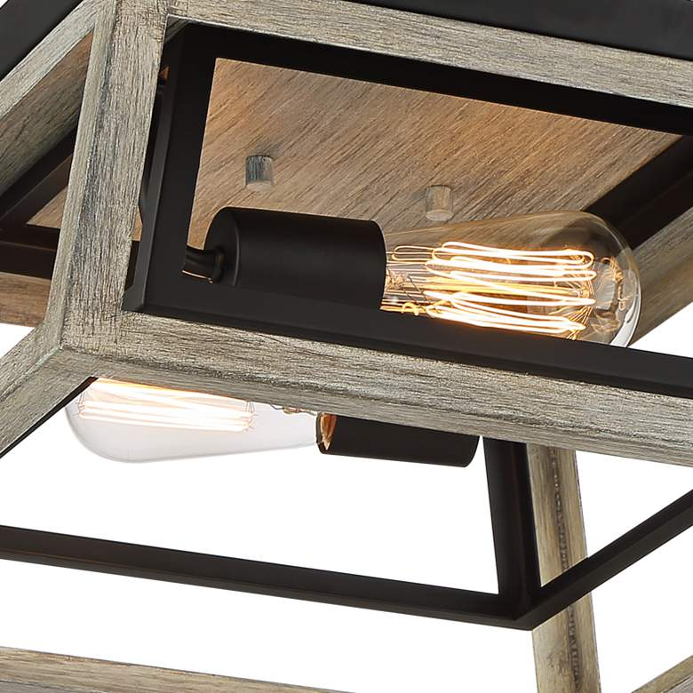 "Possini Euro Carrabelle 14""W Wood and Black Ceiling Light more views"