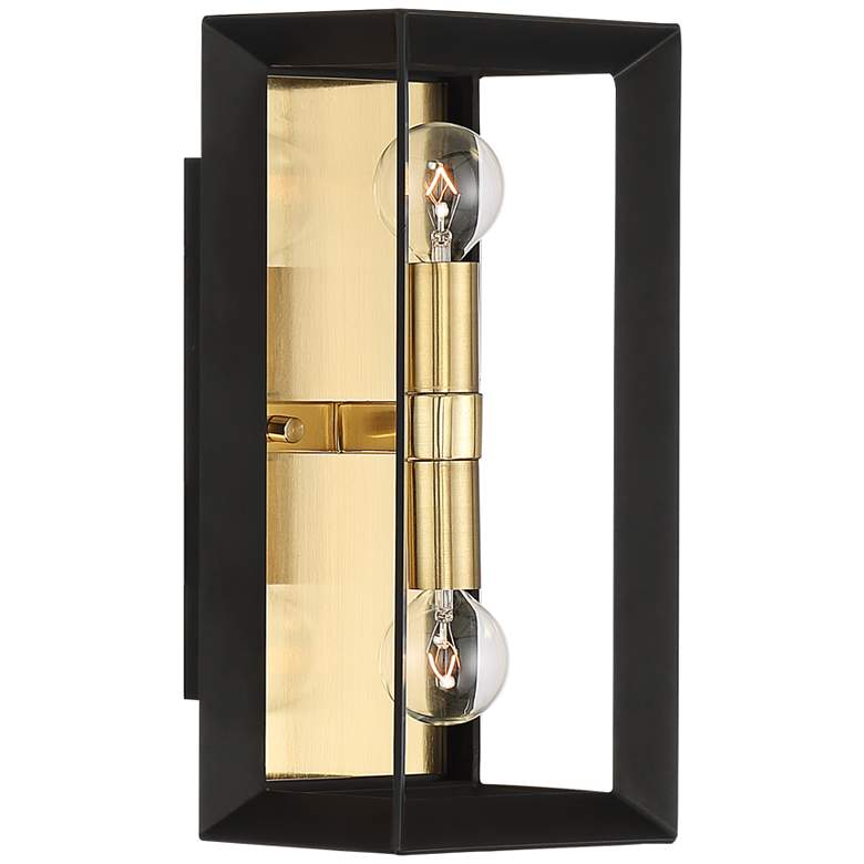 "Possini Euro Gretna 12""H Boxed Black and Gold Wall Sconce more views"