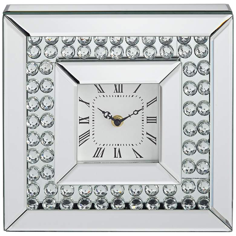"Eden 10"" Square Glossy Silver and Crystal Table Clock more views"