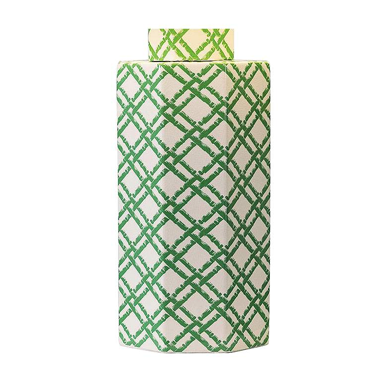 Port 68 Bamboo Trellis Green and White Column Table Lamp more views