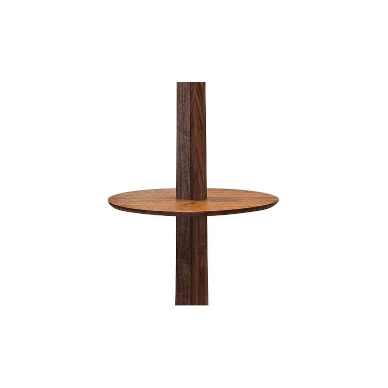 Cerno Nauta Walnut Brass LED Tray Floor Lamp w/ Black Shade more views
