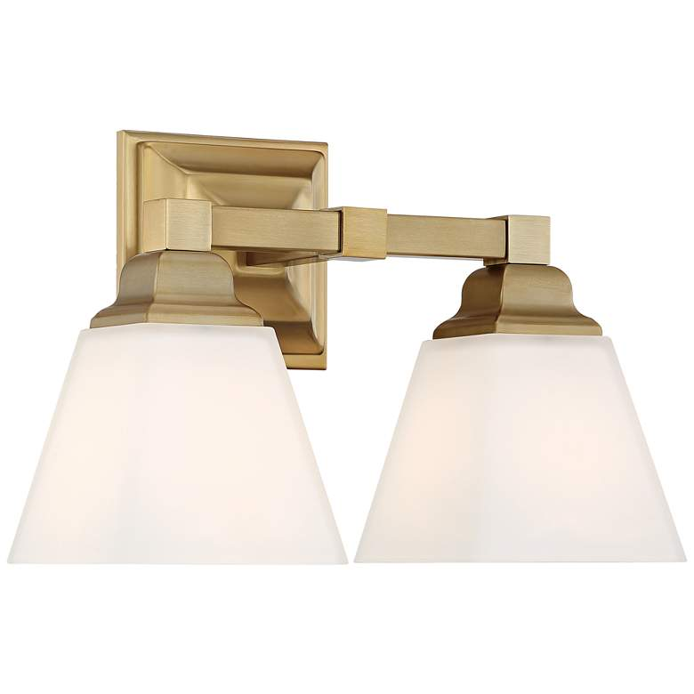 "Mencino-Opal 12 3/4""W Warm Brass and Opal Glass Bath Light more views"