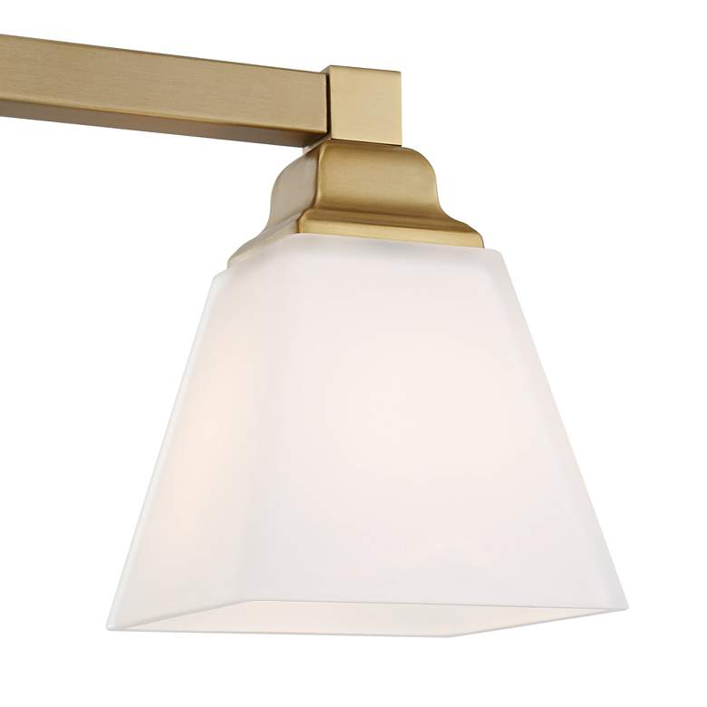 "Mencino-Opal 35 1/4""W Warm Brass and Opal Glass Bath Light more views"