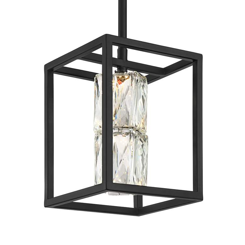 "Roxbury 6"" Wide Matte Black and Crystal LED Mini Pendant more views"