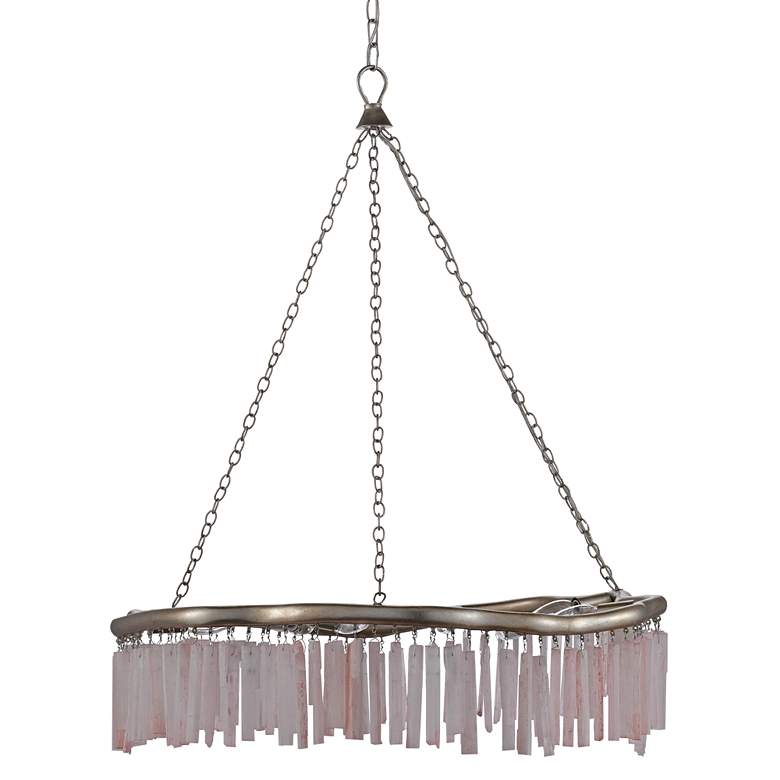 "Longuette 31"" Wide Silver Leaf and Selenite Chandelier more views"