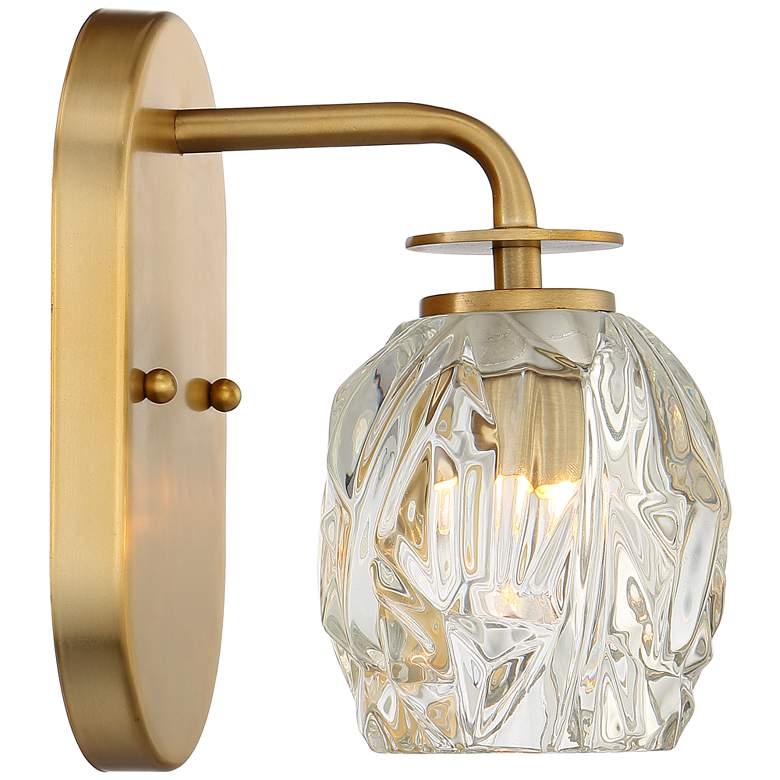 "Possini Euro Tulip 8"" High Warm Brass and Glass Wall Sconce more views"