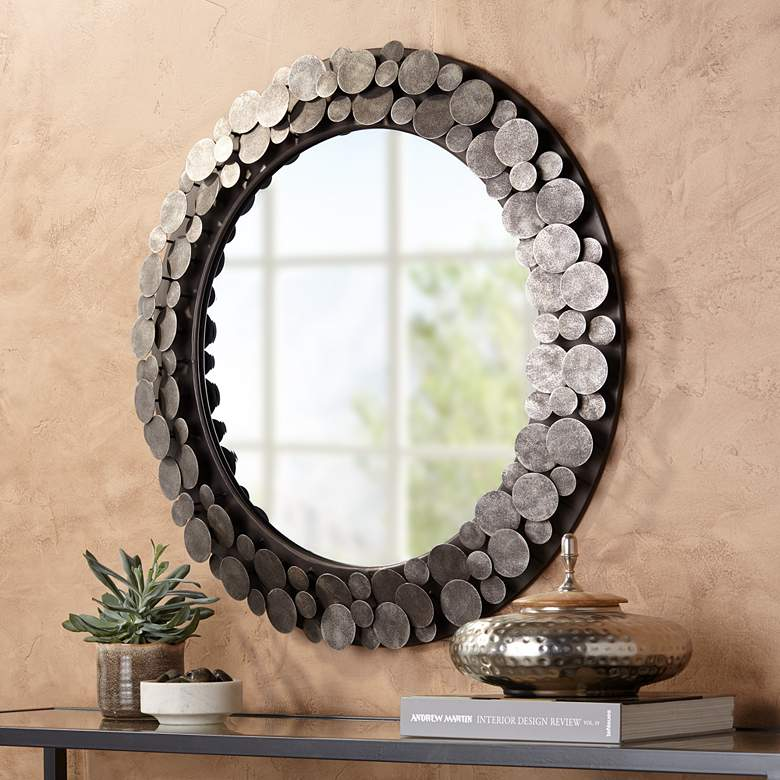 "Uttermost Rolin 32 3/4"" Round Staggered Nail Head Mirror more views"