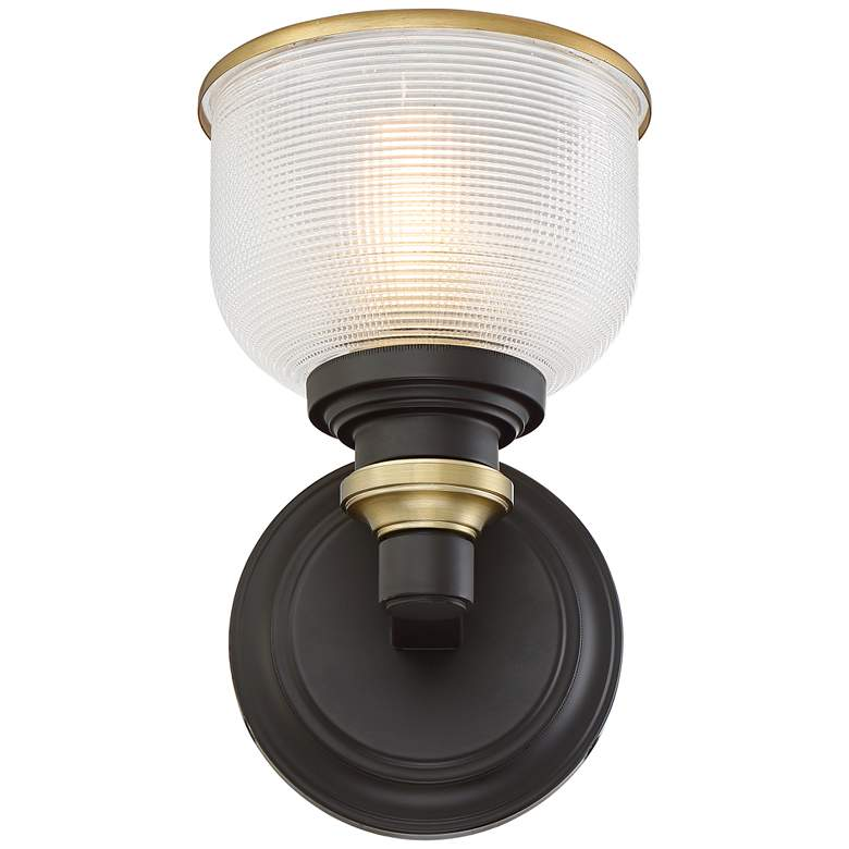 "Possini Euro Poway 9""H Bronze and Textured Glass Wall Sconce more views"