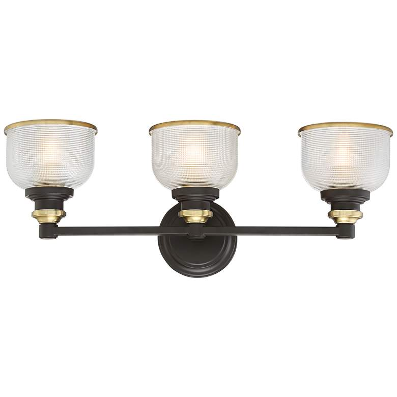 "Possini Euro Poway 24""W Bronze and Glass 3-Light Bath Light more views"