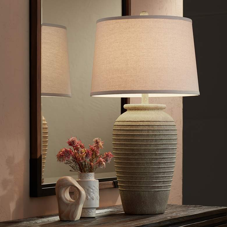 Austin Sand Toned Ridged Southwest Rustic Jug Table Lamp more views