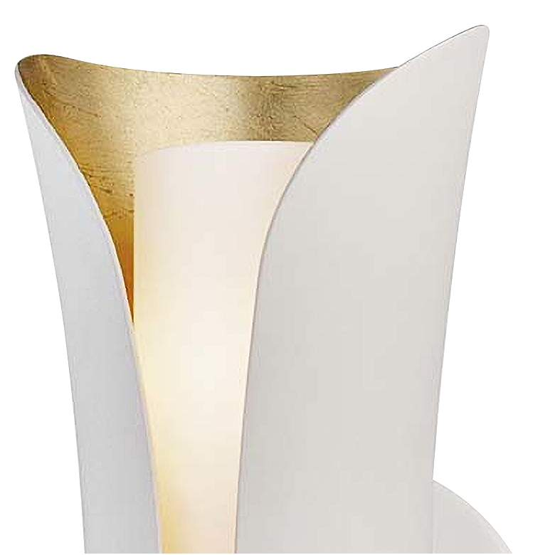 "Mitzi Josie 13 1/2"" High Gold Leaf and White Wall Sconce more views"