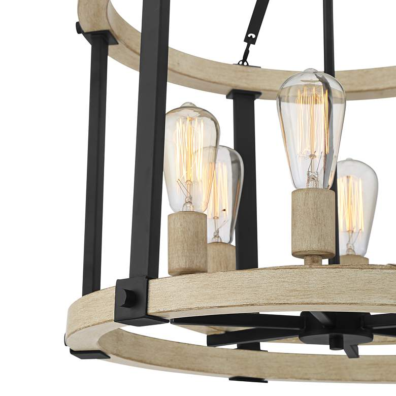 "Rickland 22"" Wide Black and Wood 6-Light Pendant Chandelier more views"