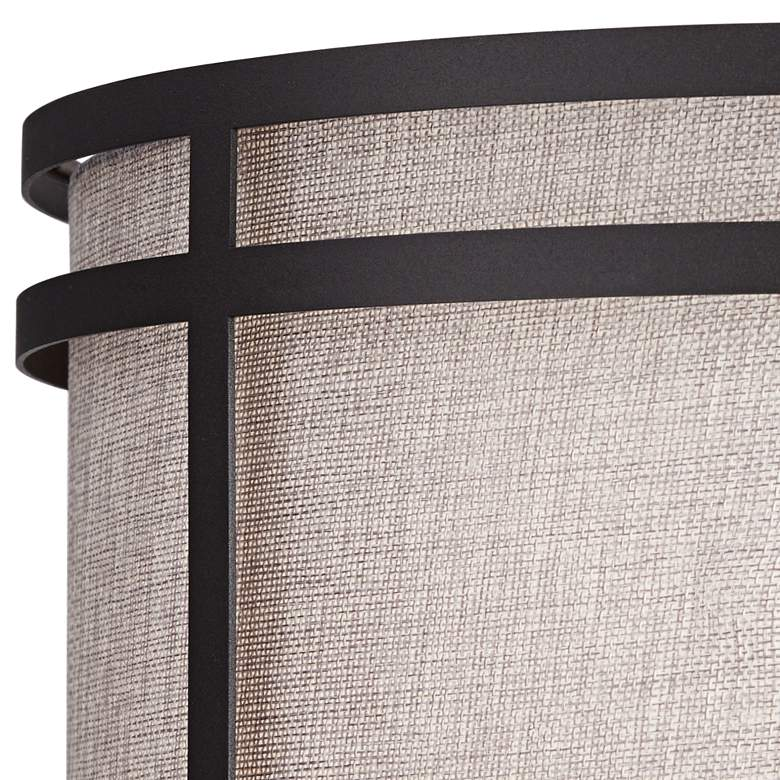Rudy Dark Bronze and Gray Wood Column Table Lamp more views