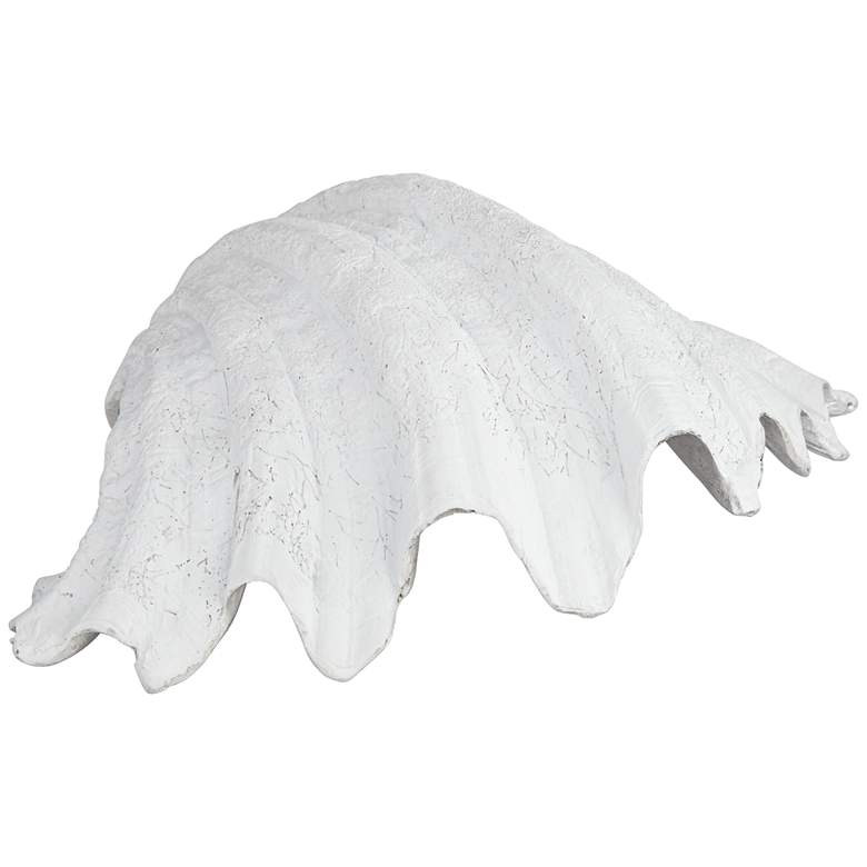 "Marine Mist Distressed White 10 3/4"" Sea Shell Sculpture more views"
