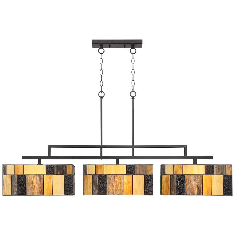 "Serra 52 1/4""W Bronze Art Glass Kitchen Island Light Pendant more views"