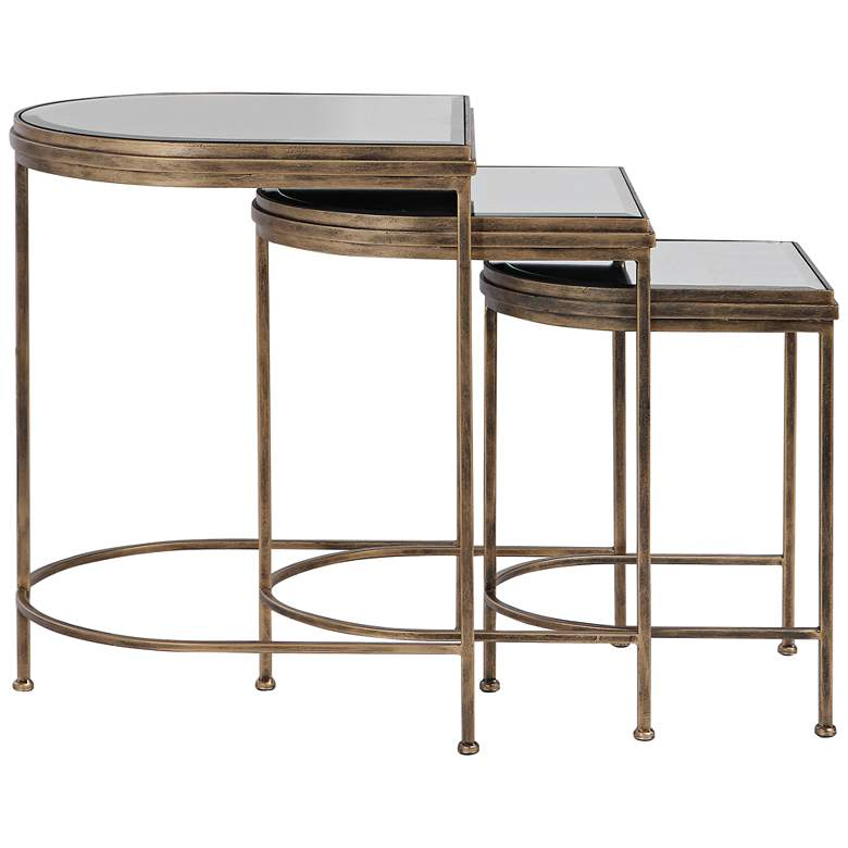 "India 19"" Wide Antique Brushed Gold Nesting Tables Set of 3 more views"