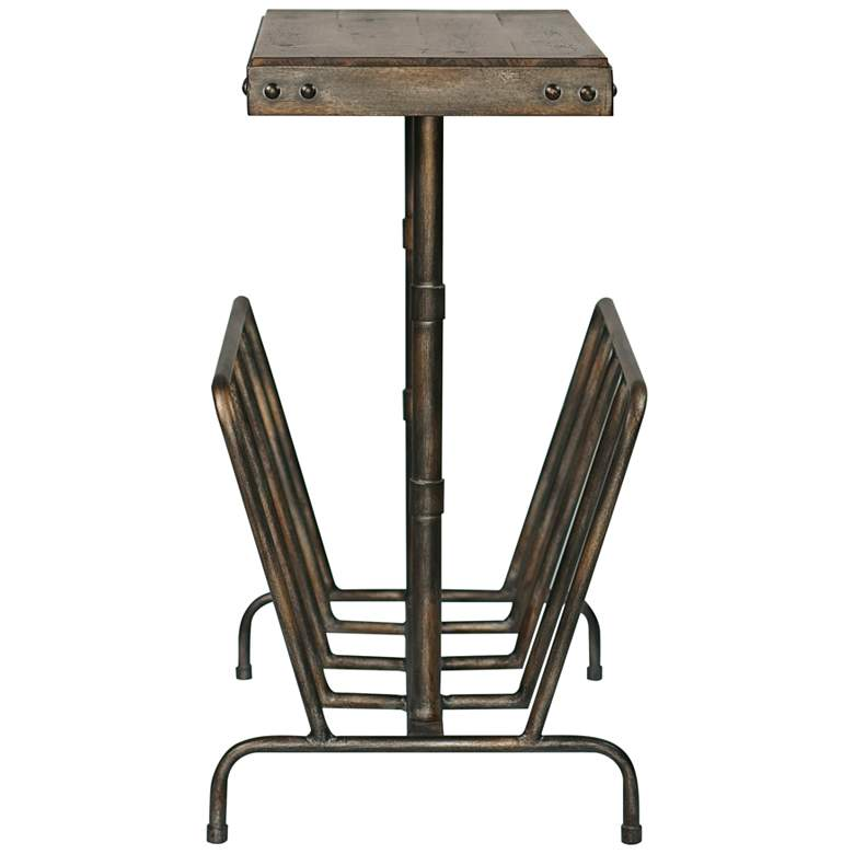 "Sonora 17""W Brushed Iron w/ Walnut Wood Magazine Side Table more views"