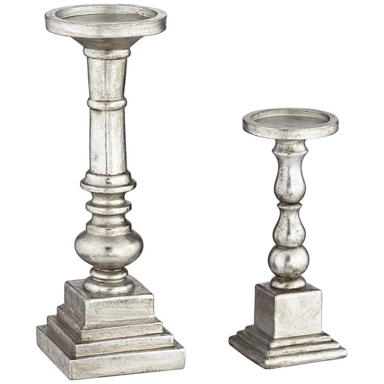 Wicksham Silver Column Pillar Candle Holders Set of 2 more views