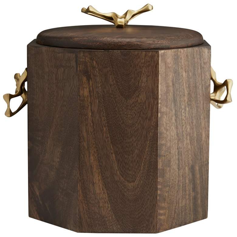 Arteriors Home Wakefield Walnut Mango Wood Ice Bucket more views