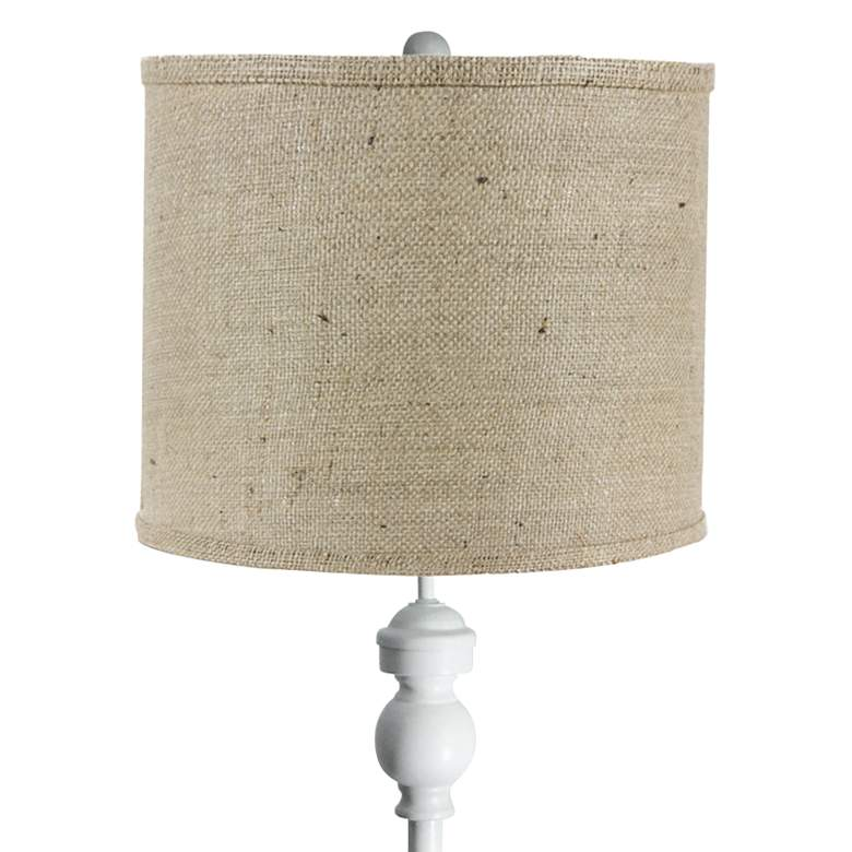 Bridgeport White Floor Lamp with Natural Burlap Shade more views