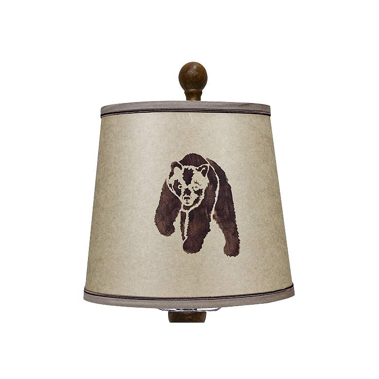 Townsend Wood Finish Rustic Bear Table Lamp more views