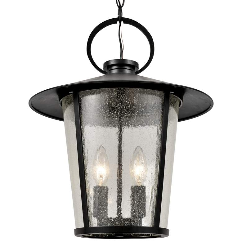 "Crystorama Andover 17""H Matte Black Outdoor Hanging Light more views"